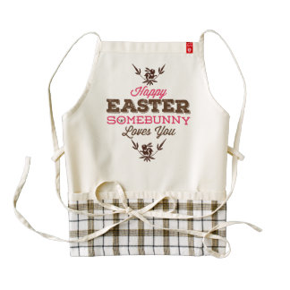 Funny Text-Happy Easter Somebunny Loves You Zazzle HEART Apron
