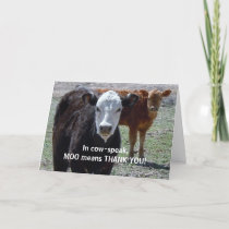Funny Thank You — Cow Animal Humor — Ranch