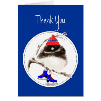 Funny Thank You Figure Skating Sport Bird Greeting Cards