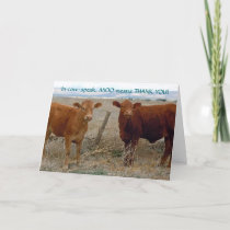 Funny Thank You - Red Cow Animal Humor - Ranch
