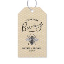 Funny Thanks for Bee-ing Here   Rustic Vintage Bee Gift Tags