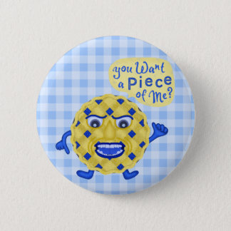 Funny Thanksgiving Blueberry Pie Humor Gingham Pinback Button