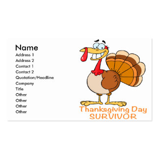 funny thanksgiving day survivor turkey Double-Sided standard business cards (Pack of 100)