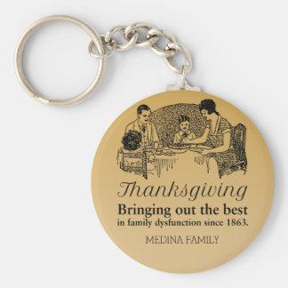 Funny Thanksgiving Family Reunion Souvenir Basic Round Button Keychain