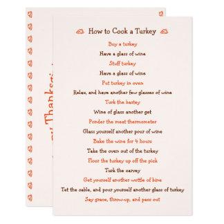 Funny Thanksgiving How To Roast Turkey Recipe Card