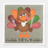 Funny Thanksgiving turkey dinner paper napkins