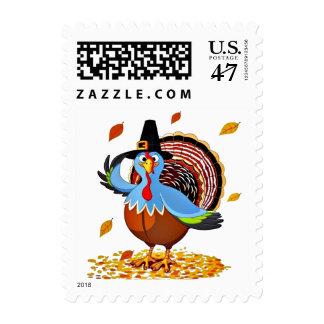 Funny Thanksgiving Turkey in a Pilgrim Hat Stamp