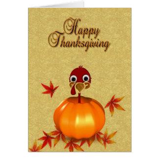 Funny Thanksgiving Turkey in Pumpkin Greeting Card