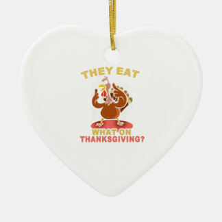 Funny thanksgiving turkey tshirt ceramic ornament