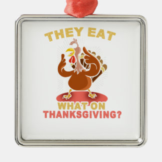 Funny thanksgiving turkey tshirt metal ornament