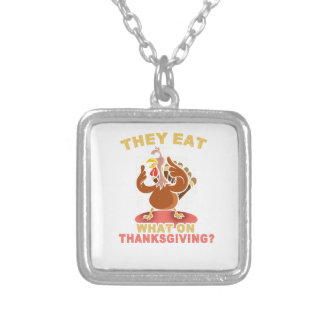 Funny thanksgiving turkey tshirt silver plated necklace