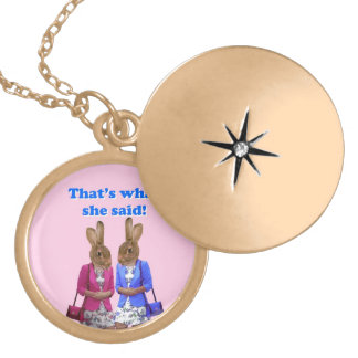 Funny that's what she said text gold plated necklace