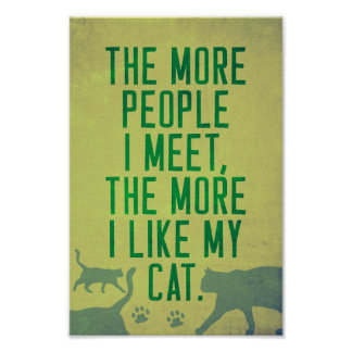 Funny '...the more I like my cat' poster