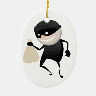 Funny Thief Ceramic Ornament