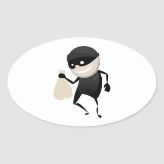 Funny Thief Oval Stickers