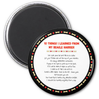 Funny Things I Learned From My Beagle Harrier 2 Inch Round Magnet