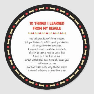 Funny Things I Learned From My Beagle Round Stickers
