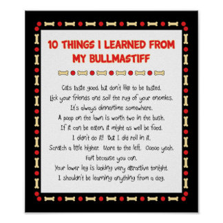 Funny Things I Learned From My Bullmastiff Poster