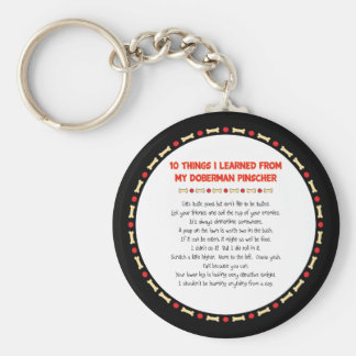 Funny Things I Learned From My Doberman Pinscher Basic Round Button Keychain