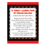 Funny Things I Learned From My English Bulldog Postcard
