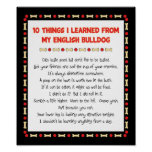 Funny Things I Learned From My English Bulldog Poster
