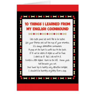Funny Things I Learned From My English Coonhound Card