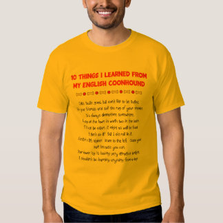 Funny Things I Learned From My English Coonhound Tee Shirt