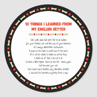 Funny Things I Learned From My English Setter Classic Round Sticker