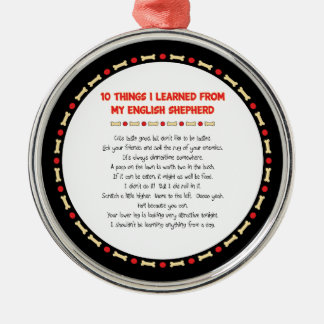 Funny Things I Learned From My English Shepherd Round Metal Christmas Ornament