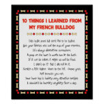 Funny Things I Learned From My French Bulldog Poster