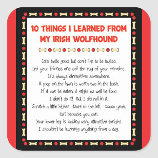 Funny Things I Learned From My Irish Wolfhound Square Sticker