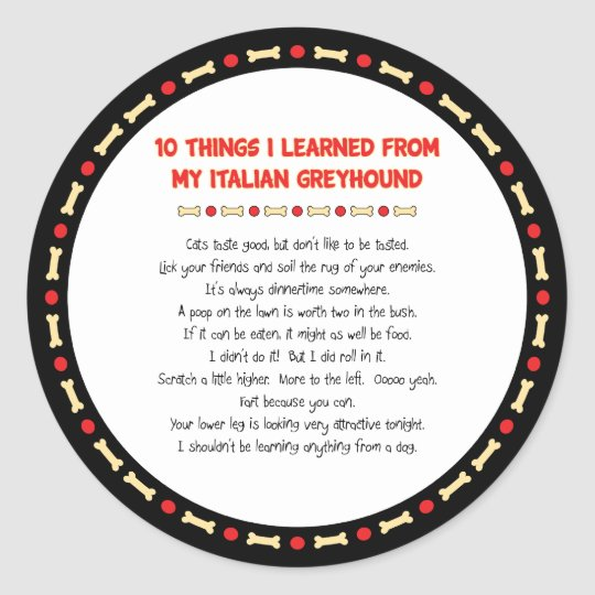 Funny Things I Learned From My Italian Greyhound Classic Round Sticker