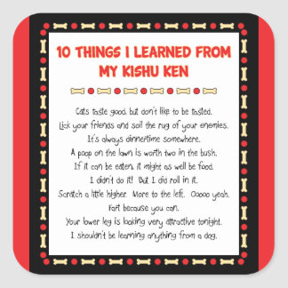 Funny Things I Learned From My Kishu Ken Square Sticker