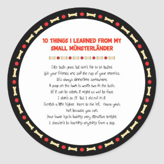 Funny Things I Learned From My Small Münsterländer Classic Round Sticker