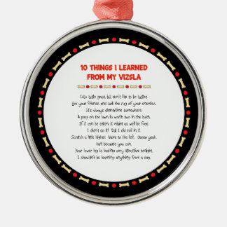 Funny Things I Learned From My Vizsla Round Metal Christmas Ornament