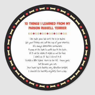 Funny Things I Learned From Parson Russell Terrier Sticker