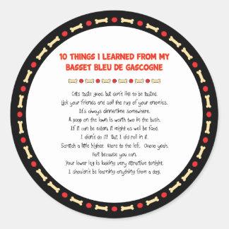 Funny Things Learned From Basset Bleu de Gascogne Sticker