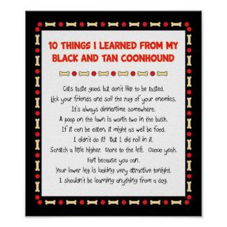 Funny Things Learned From Black and Tan Coonhound Poster