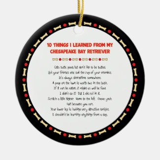 Funny Things Learned From Chesapeake Bay Retriever Double-Sided Ceramic Round Christmas Ornament