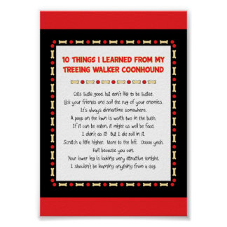 Funny Things Learned From Treeing Walker Coonhound Poster