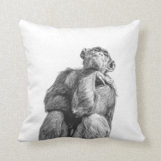Funny Thinking Chimpanzee Art Throw Pillow