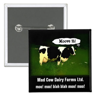 Funny Thinking Cow 2 Inch Square Button