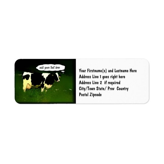 Funny Thinking Cow Label