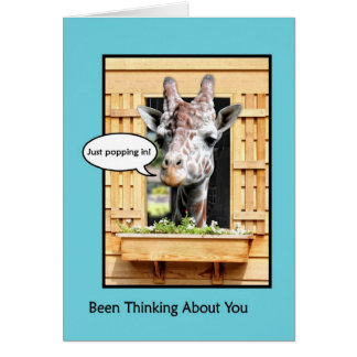 Funny Thinking of You, Cute Giraffe Through Window Card