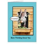 Funny Thinking of You, Cute Giraffe Through Window Greeting Card