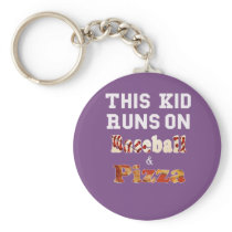 Funny This Kid runs on baseball and Pizza Keychain