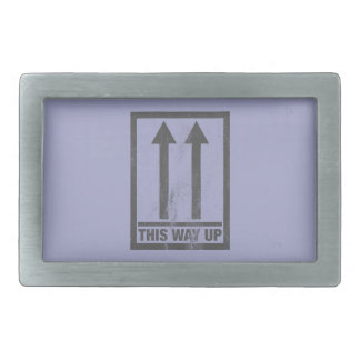 Funny this way up sign belt buckle