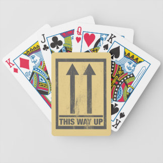 Funny this way up sign bicycle playing cards
