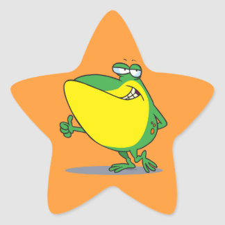 funny thumbs up frog froggy cartoon star sticker