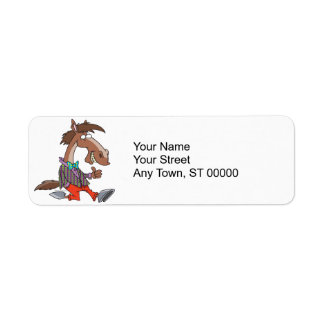 funny thumbs up nerdy horse cartoon label